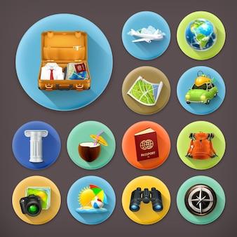 Férias e viagens, conjunto de ícones de longa sombra