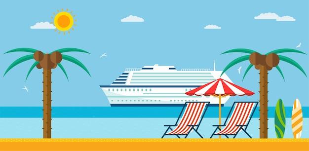 Férias e viagens. praia de mar com espreguiçadeira e guarda-sol, navio de cruzeiro no mar.