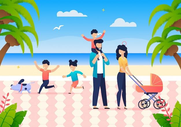 Férias em família conjunta de verão no oceano