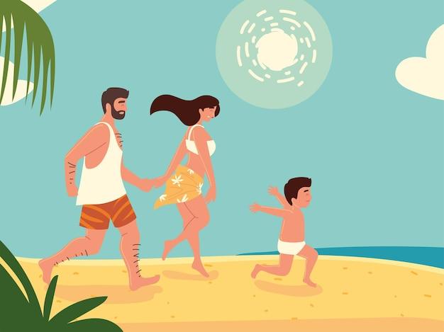 Férias em família na areia da praia