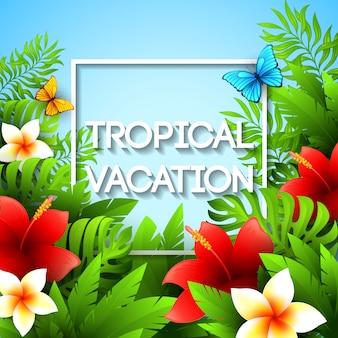 Férias exóticas. ilustração com plantas e flores tropicais