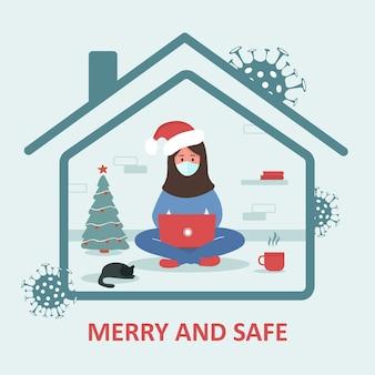 Férias felizes e seguras. mulher árabe com chapéu de papai noel com laptop sentado em casa e comemorando o natal. quarentena ou auto-isolamento. medo de contrair o coronavírus. ilustração plana da moda.