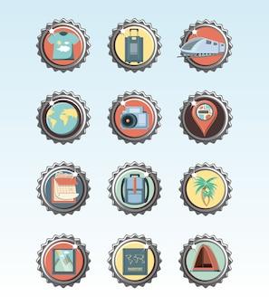 Férias férias conjunto ícones viagens ilustração vetorial