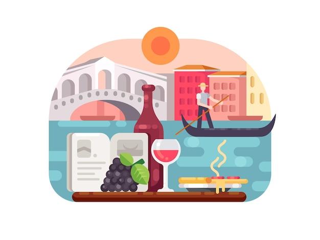 Férias na itália, vinho e pizza, nadar na gôndola. ilustração vetorial