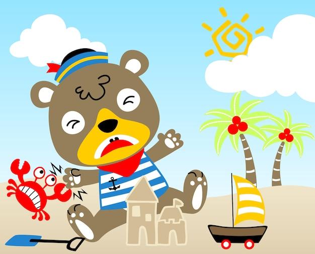 Férias na praia, desenhos animados de vetores