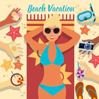 Férias na praia. férias tropicais. mulher na praia menina tomando banho de sol