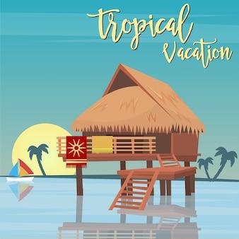 Férias na praia. paraíso tropical. bungalows exóticos da ilha. ilustração vetorial