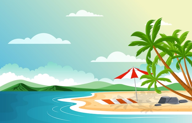 Férias na praia tropical mar palmeira verão paisagem ilustração