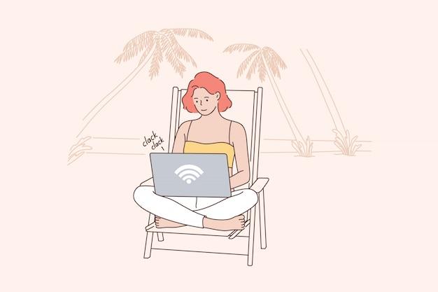 Férias, negócios, freelance, conceito de recreação