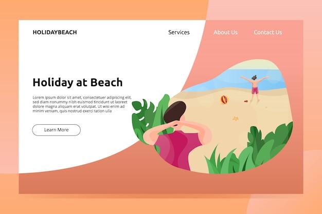 Férias no banner de praia e ilustração de página de aterragem