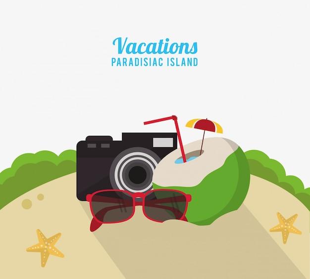 Férias paradisiac island beach coconut cocktail camera and sunglasses
