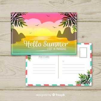 Férias planas de verão cartão postal