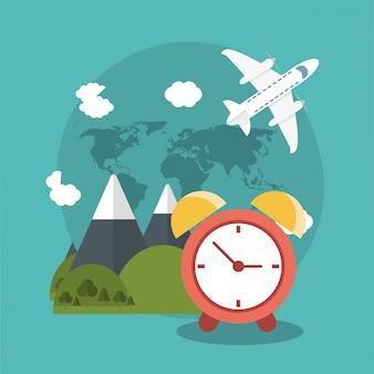 Férias relógio mundo avião plano