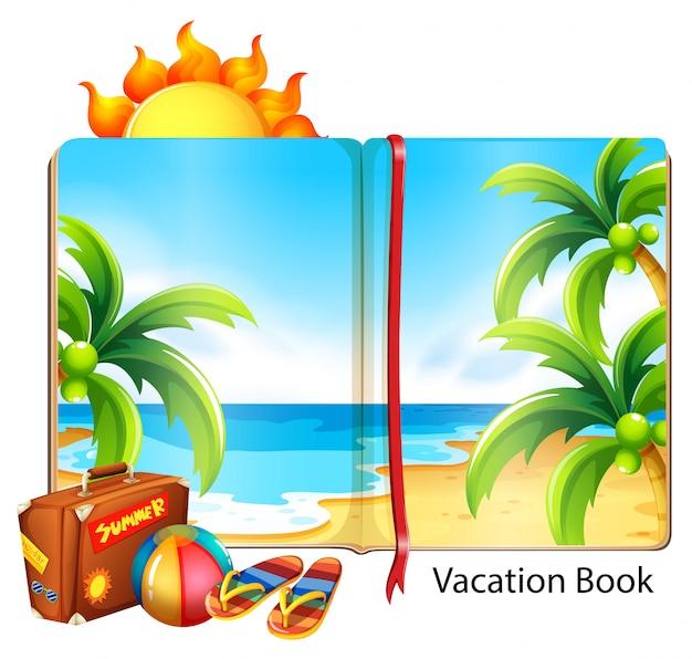 Férias sobre o tema da praia no livro