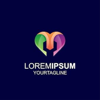 Ferramenta amor cor gradiente inspiração incrível logotipo