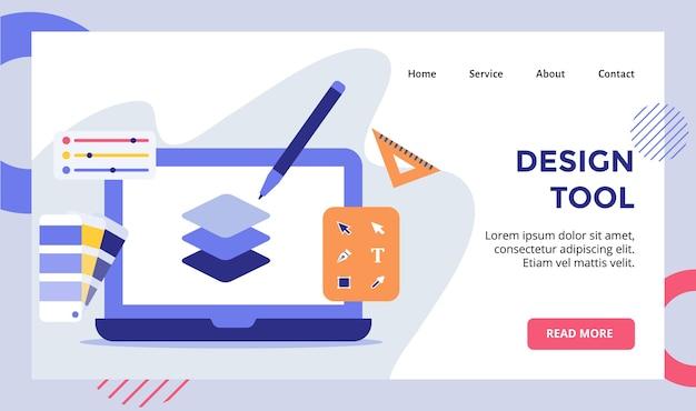 Ferramenta caneta camada no monitor de exibição campanha de laptop para web site página inicial página inicial banner modelo de página de destino com moderno