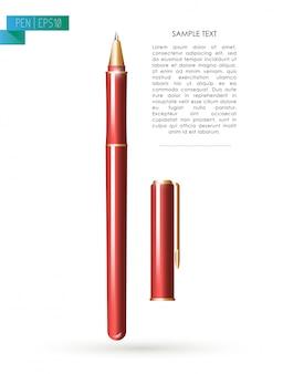 Ferramenta caneta de metal vermelho com tampa em fundo branco. espaço do texto. escrevendo o ícone da ferramenta de escritório. textura de metal. escrevendo mock up. caneta de perto. mensagem de texto. negócios, escrevendo ilustração.