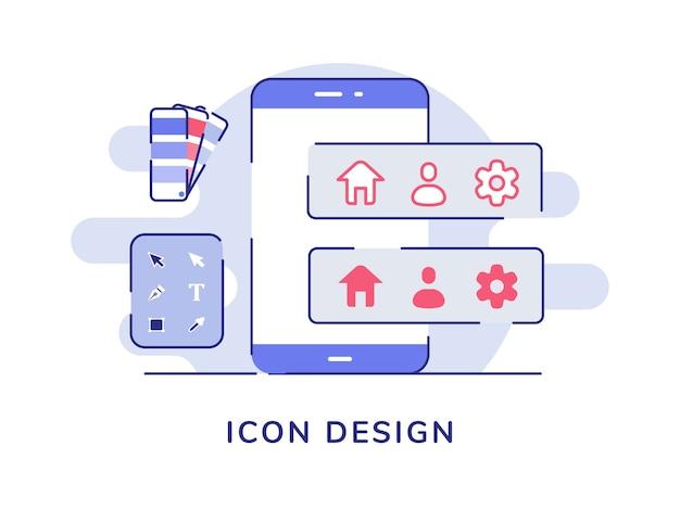 Ferramenta de configuração inicial de conceito de design de ícone na tela do smartphone