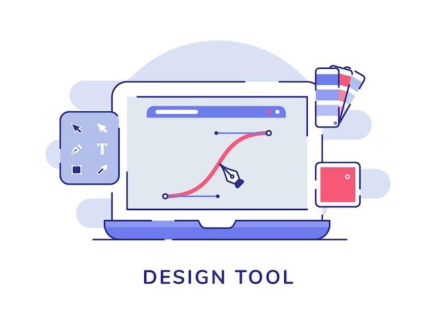 Ferramenta de design conceito caneta faz linha curva na tela do laptop com estilo de contorno plano