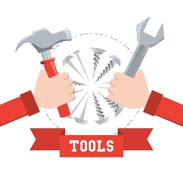 Ferramenta de equipamento e serviço de reparação mecânica Vetor Premium