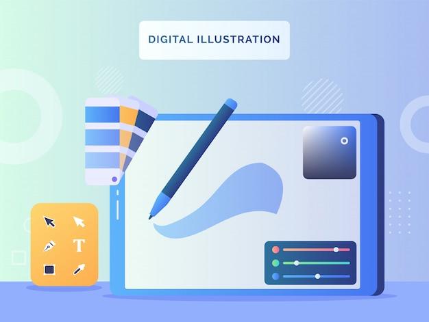Ferramenta de ilustrador de aplicativos de exibição de tela de conceito de ilustração digital com estilo simples.