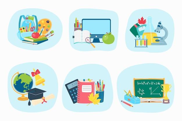 Ferramenta de material escolar, ícones de equipamentos de estudo de conceito