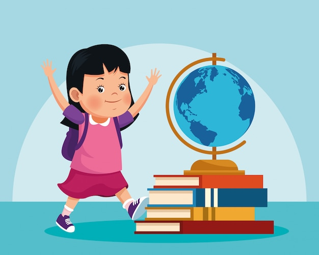 Ferramenta de menina e geografia dos desenhos animados na pilha de livros