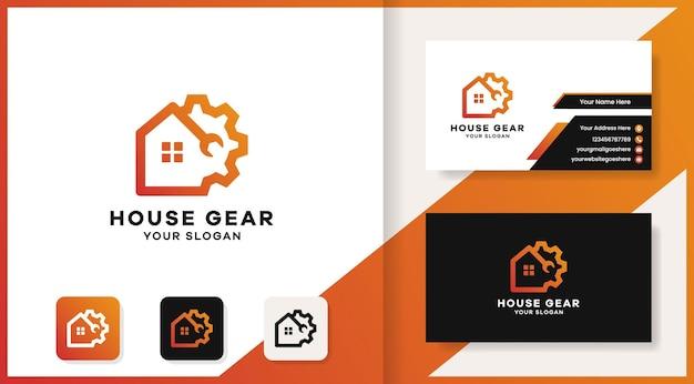 Ferramenta gear house combina logotipo e design de cartão de visita