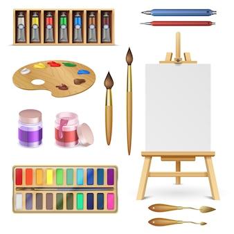 Ferramentas artísticas e materiais de arte com cavalete, pincel de tintas de paleta e lápis de cor isolado vector set