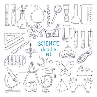 Ferramentas das ciências isoladas no branco. equipamento de tecnologia, aula de biologia. mão, desenhado, ilustrações