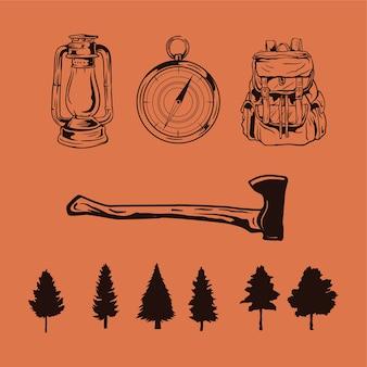 Ferramentas de acampamento e mão de estoque de árvore desenhada