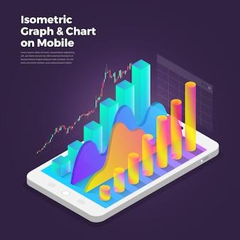 Ferramentas de análise de aplicativo móvel do conceito de design isométrica.
