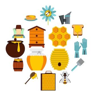 Ferramentas de apiário definir ícones planas