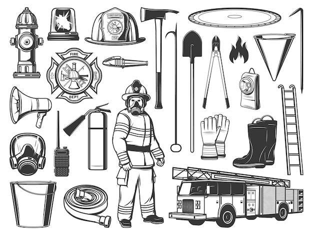 Ferramentas de bombeiro e ícones de equipamento. bombeiro com uniforme de proteção