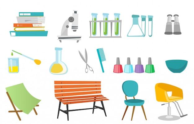 Ferramentas de cabeleireiro e conjunto de equipamentos de laboratório