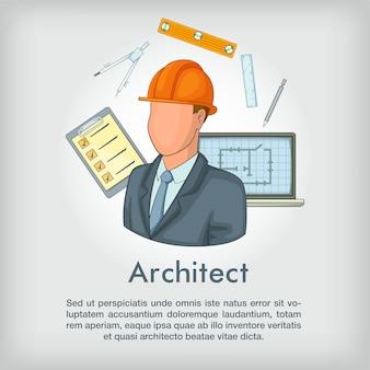Ferramentas de conceito de arquiteto, estilo cartoon