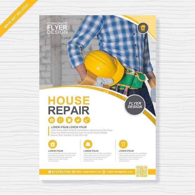 Ferramentas de construção cobrem modelo de design de folheto a4