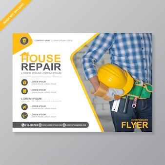 Ferramentas de construção cobrem o modelo de design de folheto a4