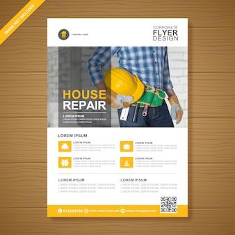 Ferramentas de construção corporativa cobrem modelo de design de folheto a4 e ícones plana