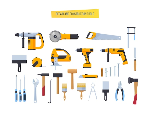 Ferramentas de construção de reparação de edifícios com lugar para texto. furadeira, martelo, chave de fenda, serra, lima
