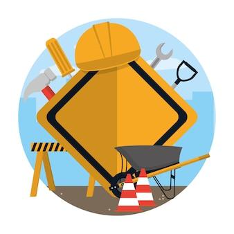 Ferramentas de construção e elementos