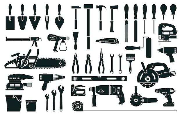 Ferramentas de construção, reparo em casa, renovação, instrumentos, silhueta, martelo, chave de fenda, broca, alicate