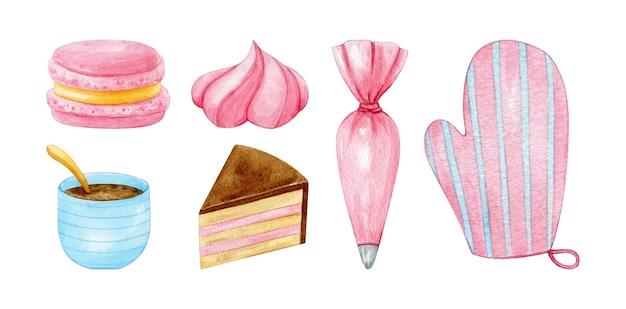 Ferramentas de cozimento e doces em rosa pastel e azul pintados em aquarela