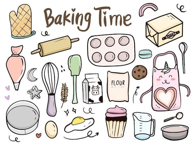 Ferramentas de cozimento e ilustração do doodle do bolo para crianças