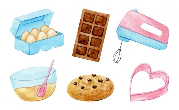 Ferramentas de cozinha e doces em rosa pastel e azul pintaram em aquarela