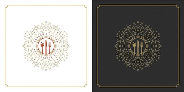 Ferramentas de cozinha para logotipo de restaurante, boas para o menu do restaurante