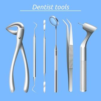 Ferramentas de dentista realista e dente conjunto de equipamentos de saúde