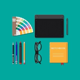 Ferramentas de desenho isoladas, equipamento para designer,