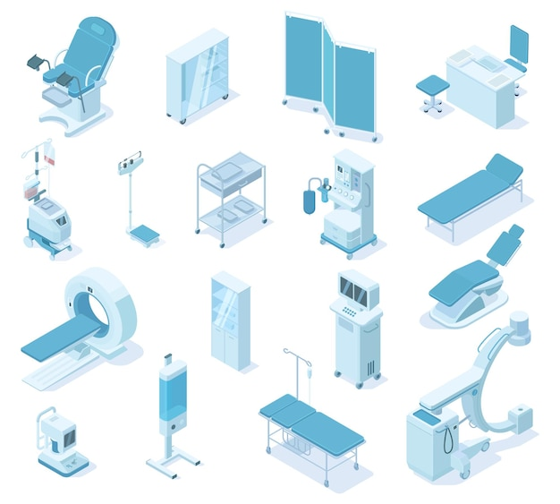Ferramentas de equipamentos de diagnóstico médico de clínica hospitalar isométrica. dispositivos de diagnóstico de saúde, tomografia, conjunto de ilustração vetorial de ultrassom. equipamento de diagnóstico hospitalar para diagnóstico e terapia