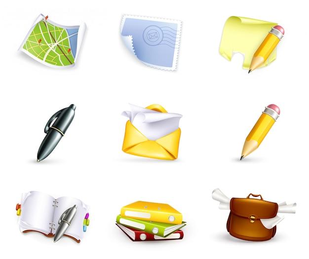 Ferramentas de escritório, material escolar, artigos de papelaria, mapa, email, pesquisa, navegação, cartão postal, conjunto de s